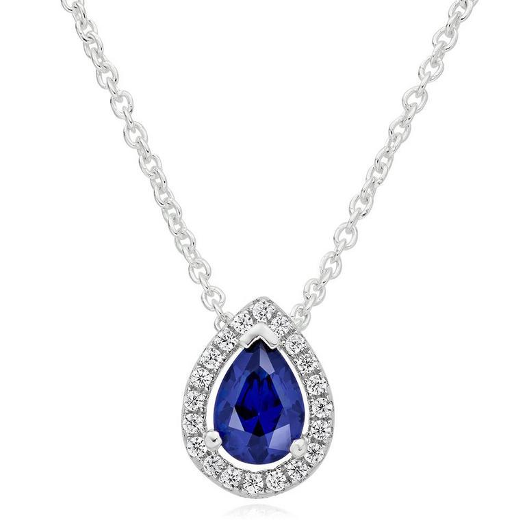 Silver Cubic Zirconia Blue Pear Halo Pendant