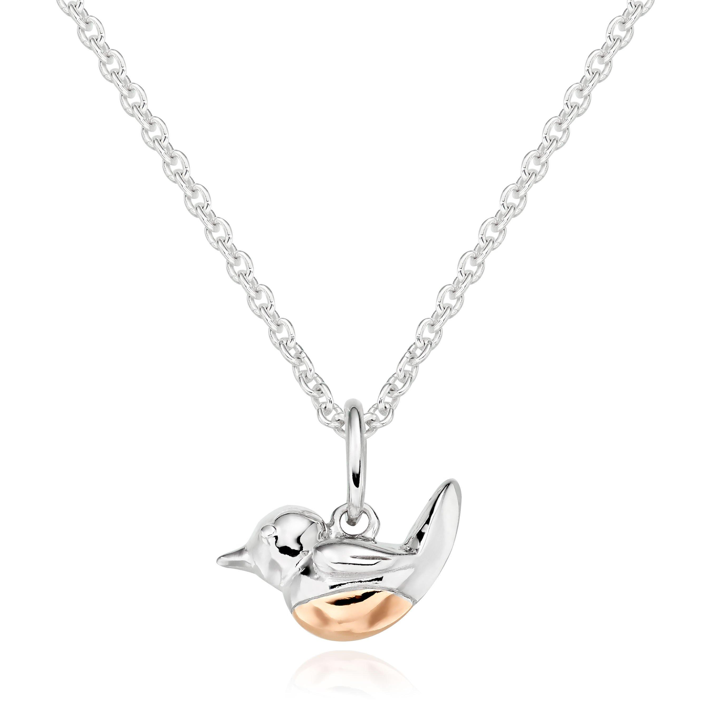 Silver 18ct Rose Gold Plated Robin Pendant