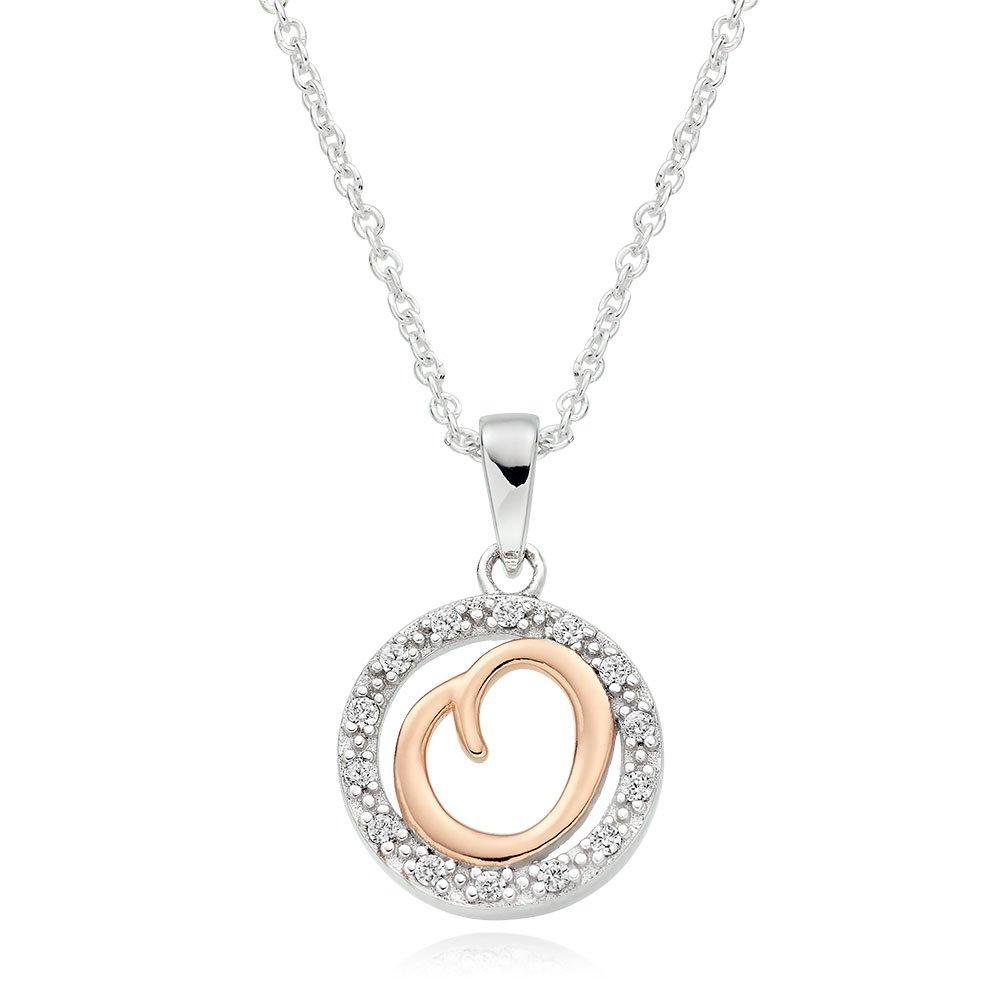 Silver Rose Gold Plated Cubic Zirconia Letter O Pendant