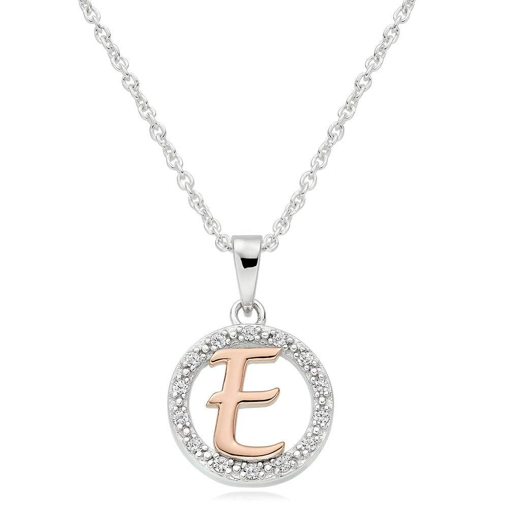 Silver Rose Gold Plated Cubic Zirconia Letter E Pendant