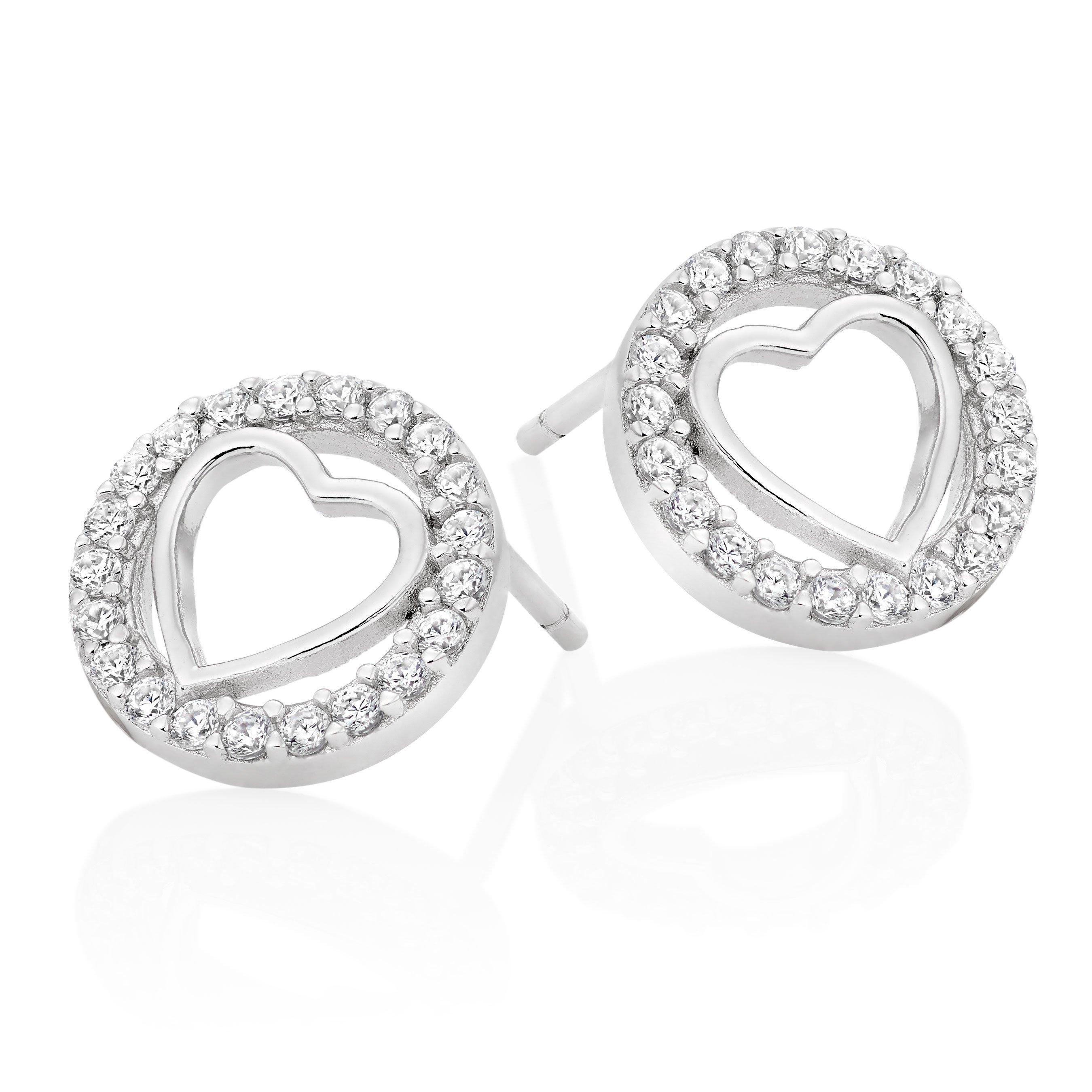 Silver Cubic Zirconia Heart Stud Earrings