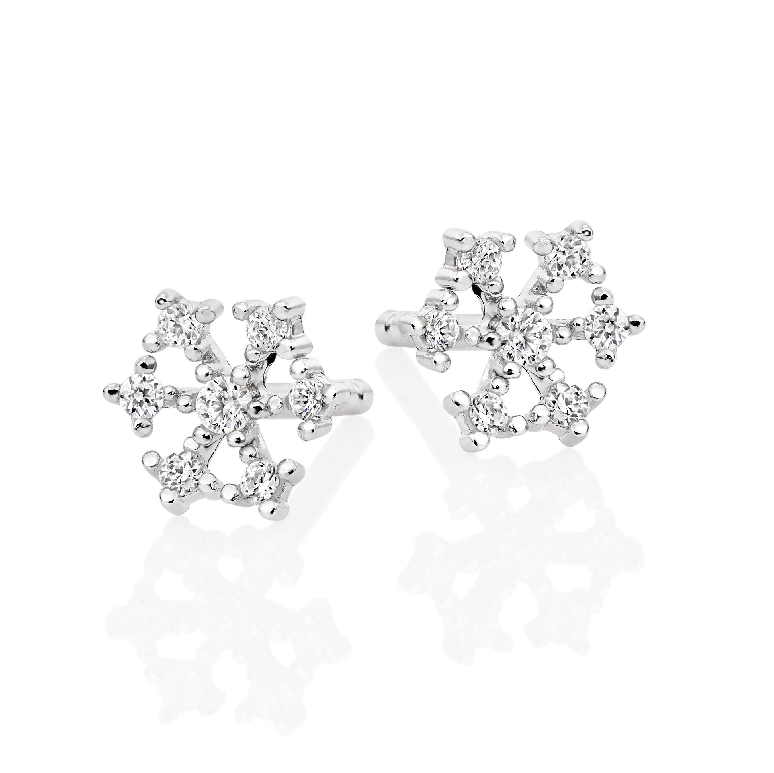 Silver Cubic Zirconia Snowflake Stud Earrings