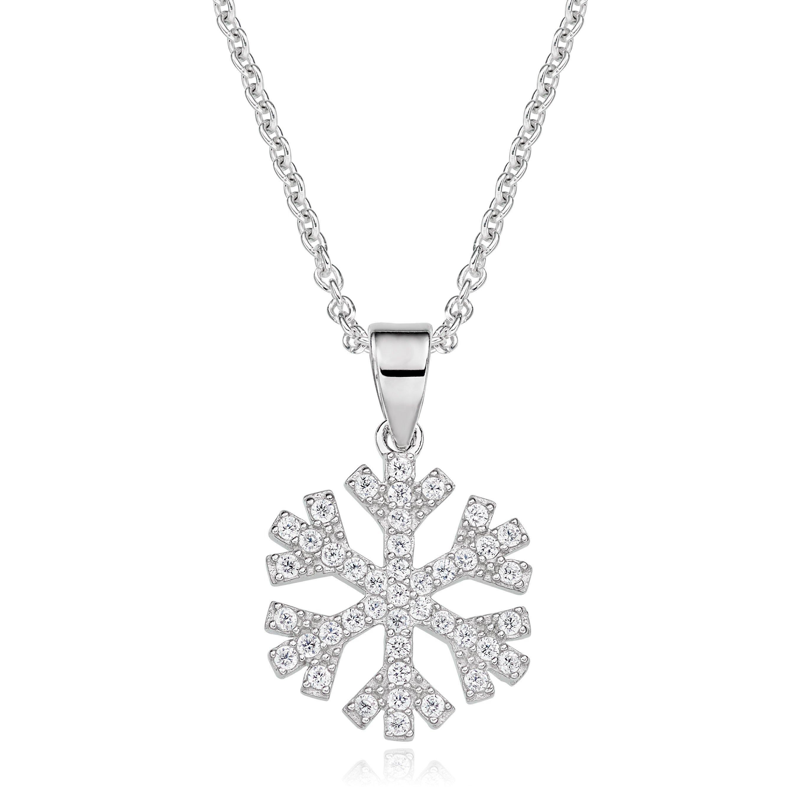 Silver Cubic Zirconia Snowflake Pendant