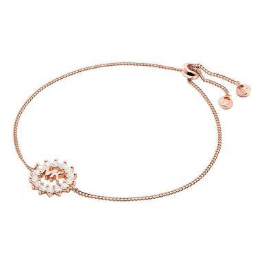 Michael Kors Exclusive Love Rose Gold Tone Silver Crystal Slider Bracelet