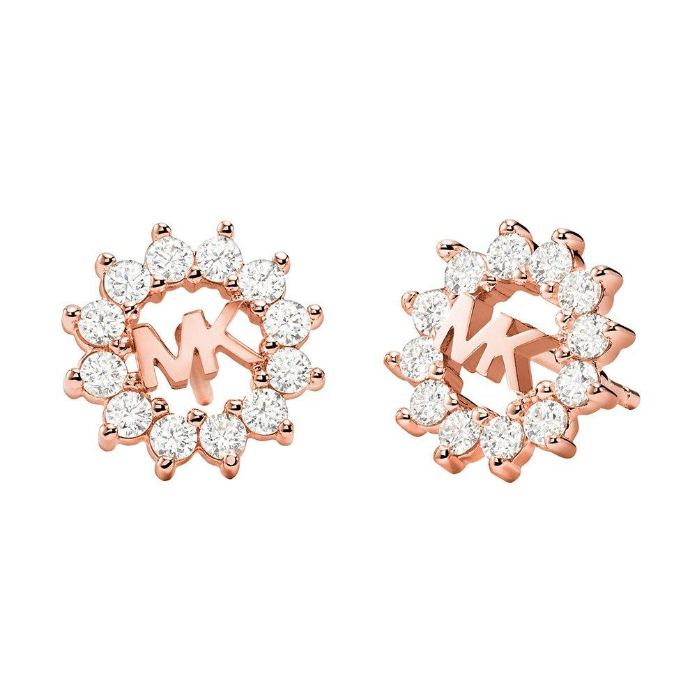 Michael Kors Exclusive Love Rose Gold Tone Silver Crystal Stud Earrings