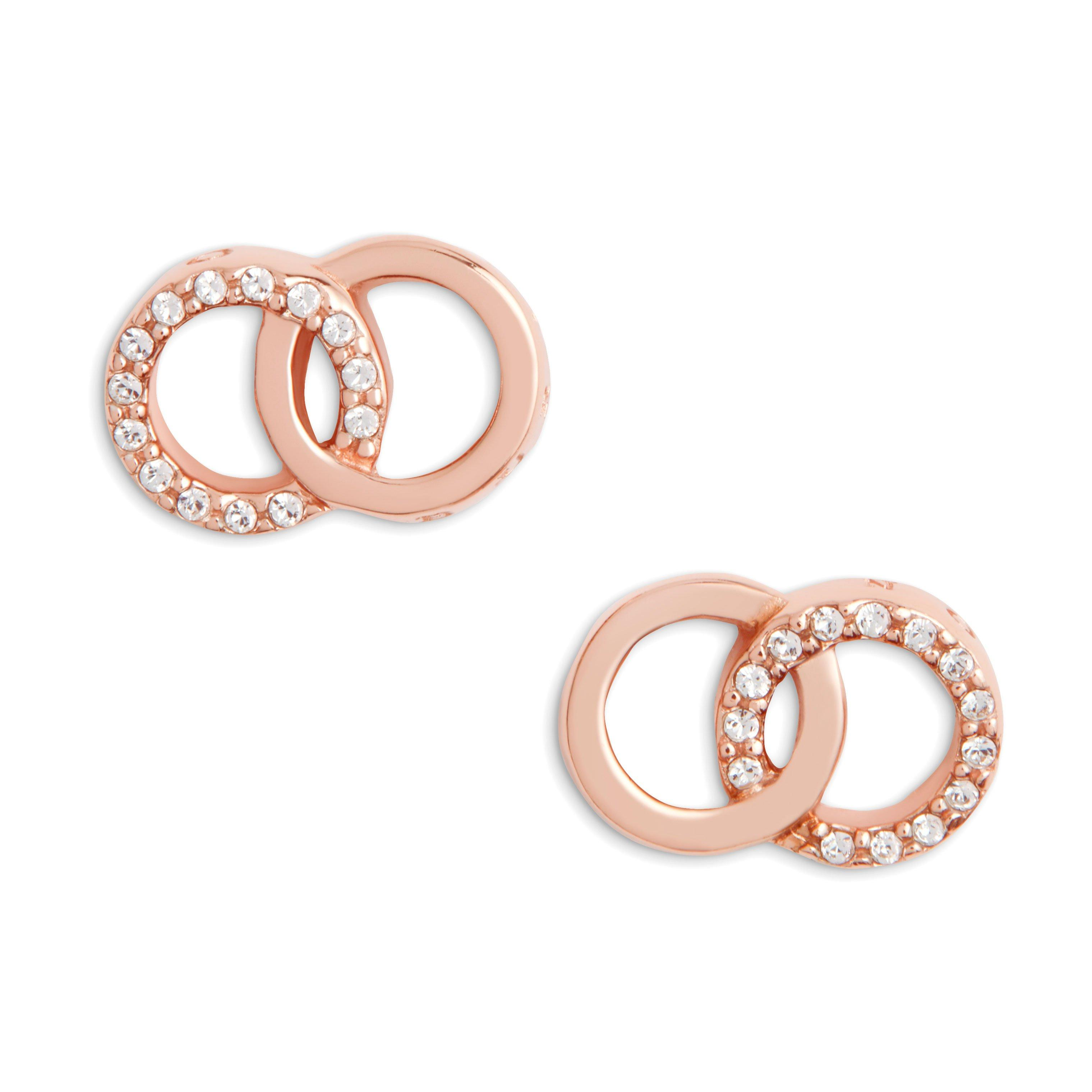 Olivia Burton The Classics Interlink Rose Gold Plated Cubic Zirconia Earrings