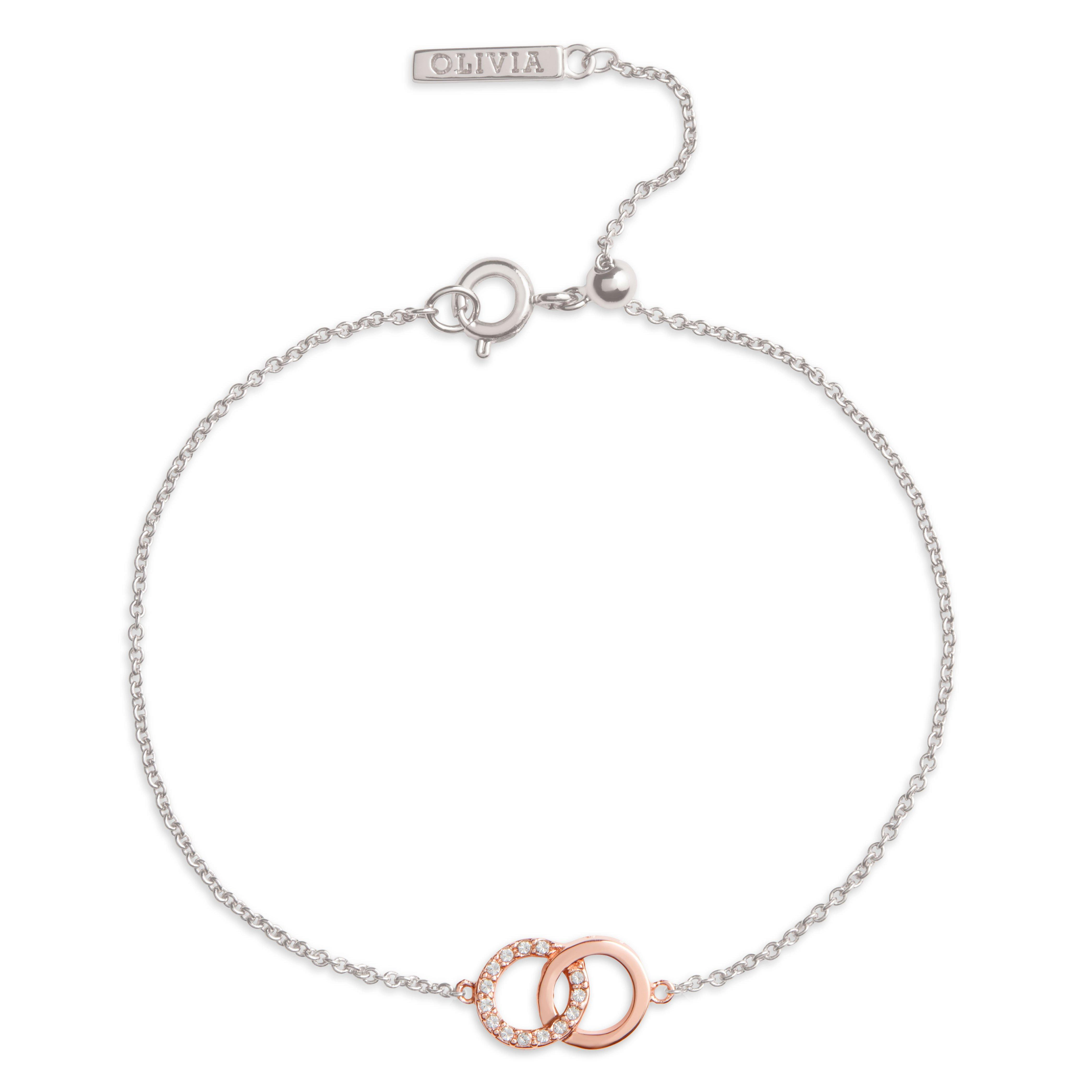 Olivia Burton Bejewelled Classics Silver and Rose Gold Tone Crystal Bracelet