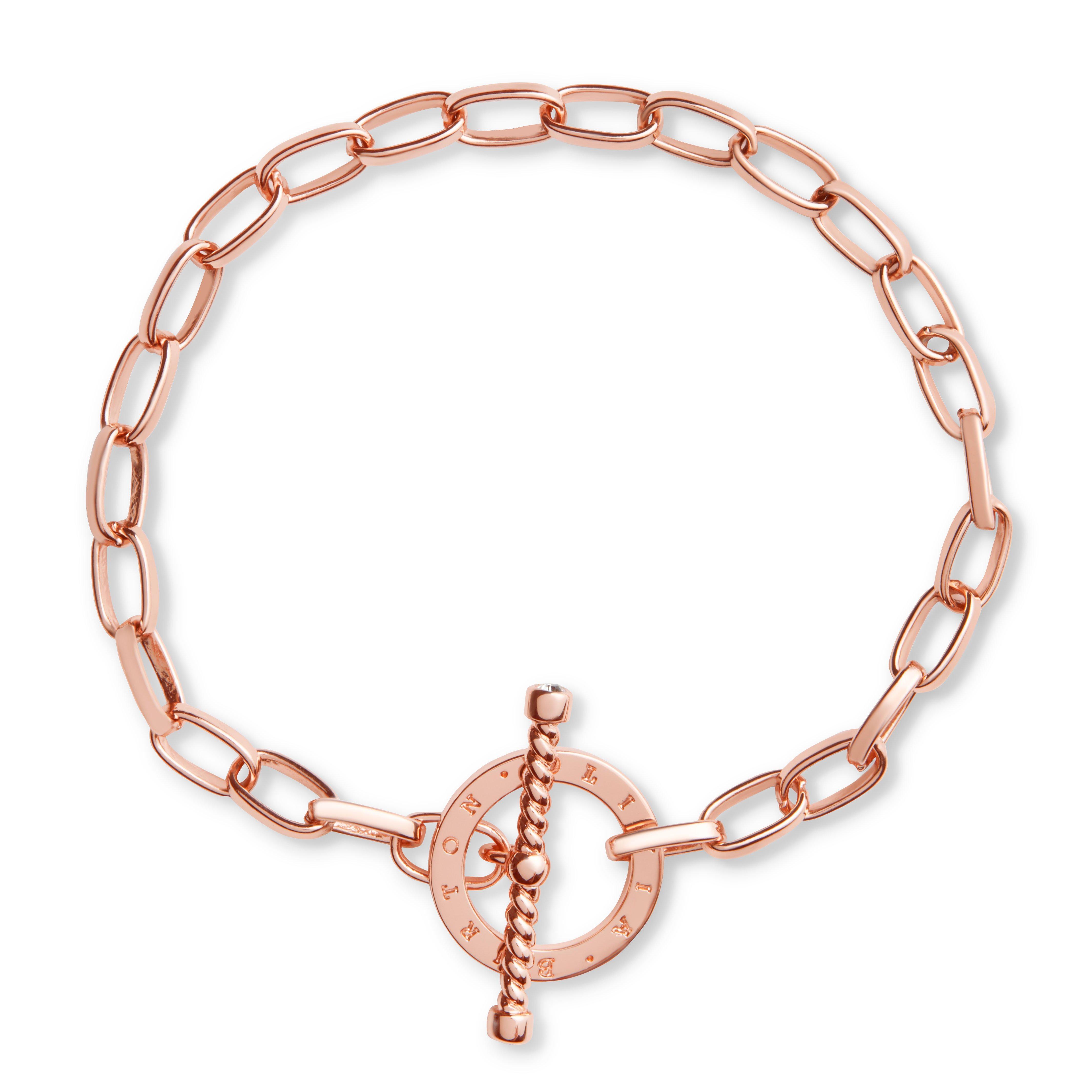 Olivia Burton Bejewelled Rose Gold Tone T-Bar Bracelet