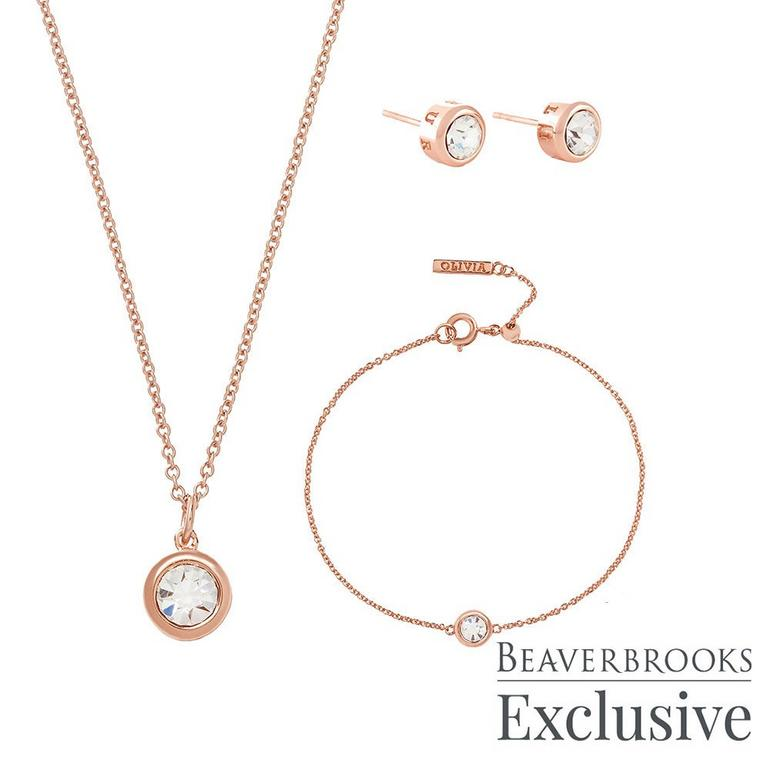 Olivia Burton Bejewelled Classics Exclusive Rose Gold Tone Crystal Jewellery Set