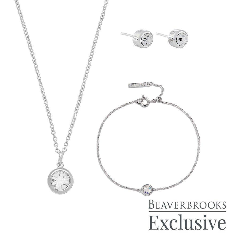 Olivia Burton Bejewelled Classics Exclusive Silver Tone Crystal Jewellery Set