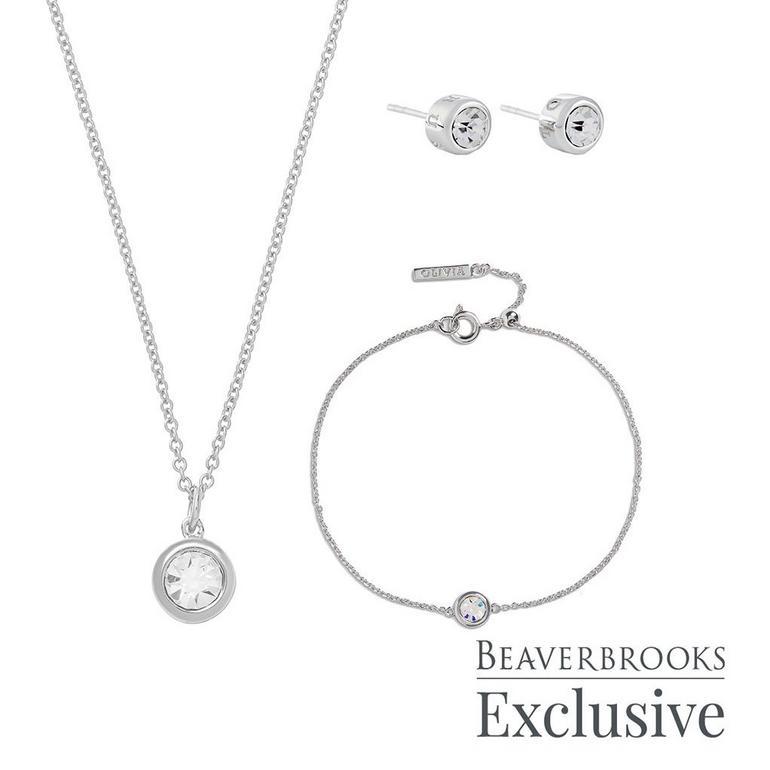 Olivia Burton Bejewelled Classics Exclusive Silver Tone Crystal Jewellery Set