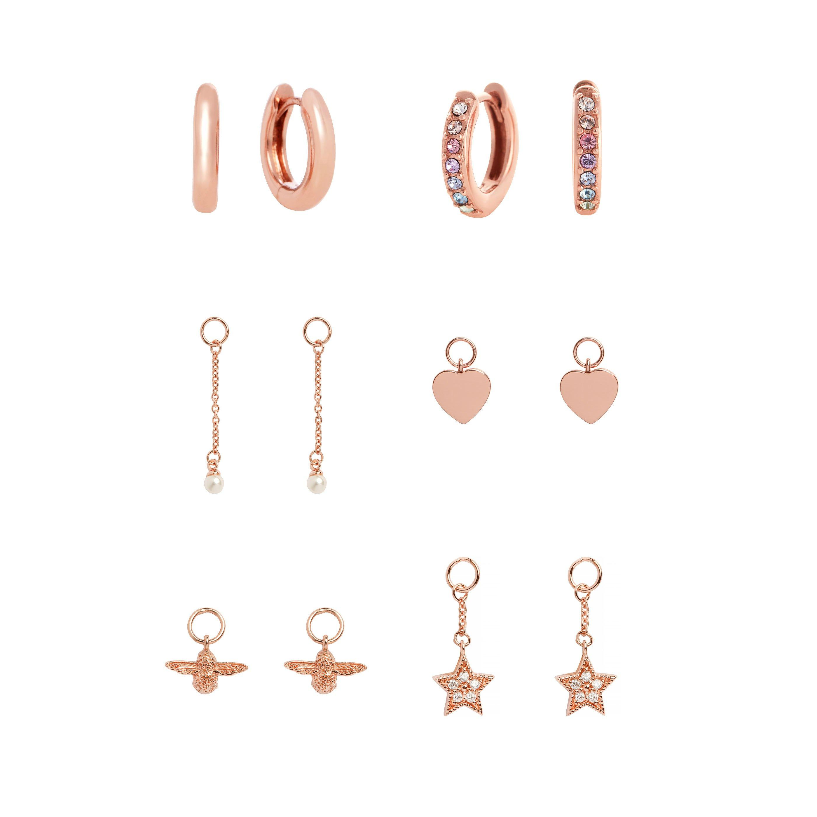 Olivia Burton Rainbow House of Huggies Rose Gold Plated Silver Interchangeable Earring Set