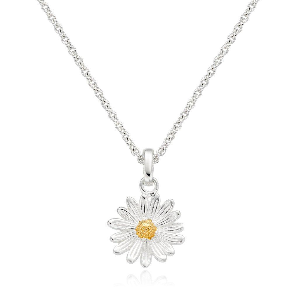 Silver Yellow Gold Plated Daisy Pendant