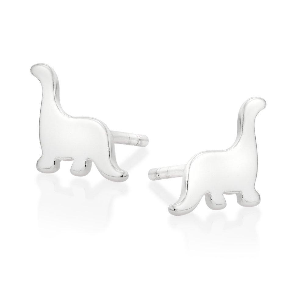 Silver Dinosaur Stud Earrings