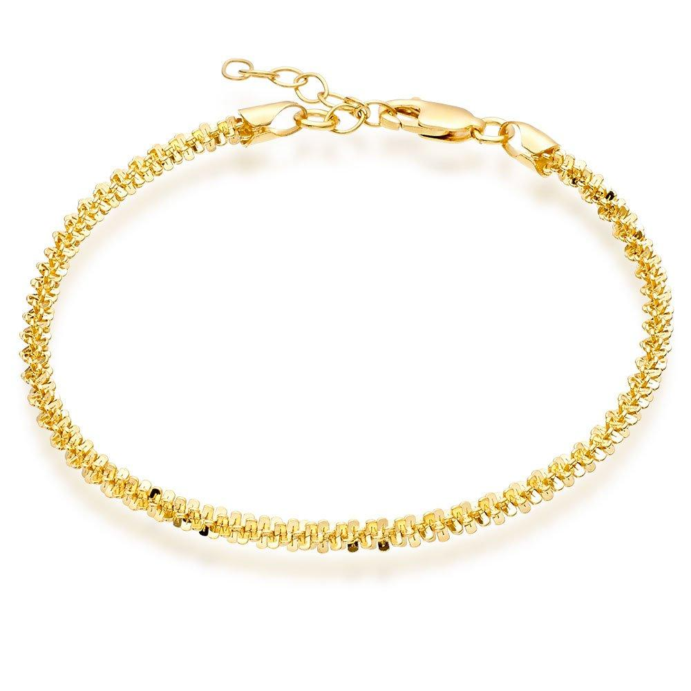 Silver Yellow Gold Plated Sparkle Twist Anklet