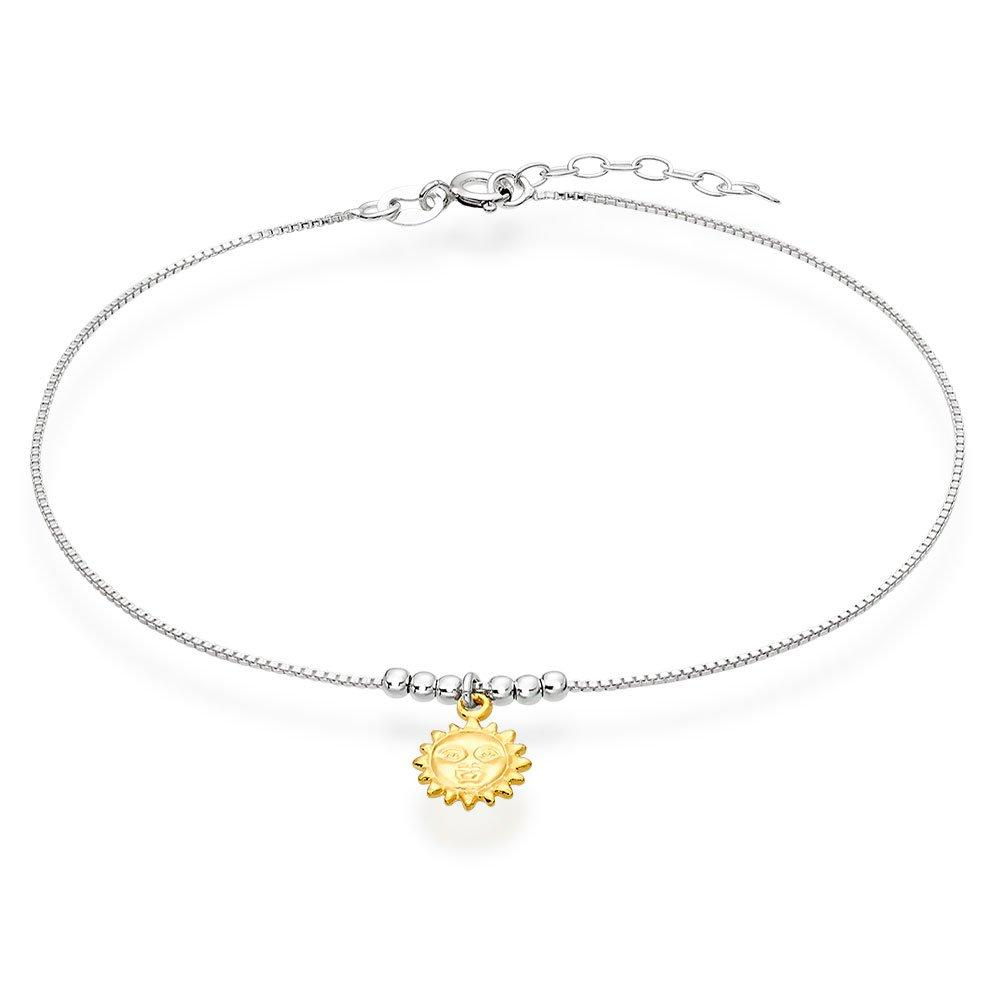 Silver Gold Plated Sun Anklet