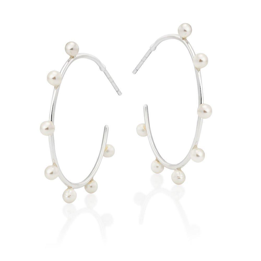 Silver Freshwater Cultured Pearl Hoop Earrings
