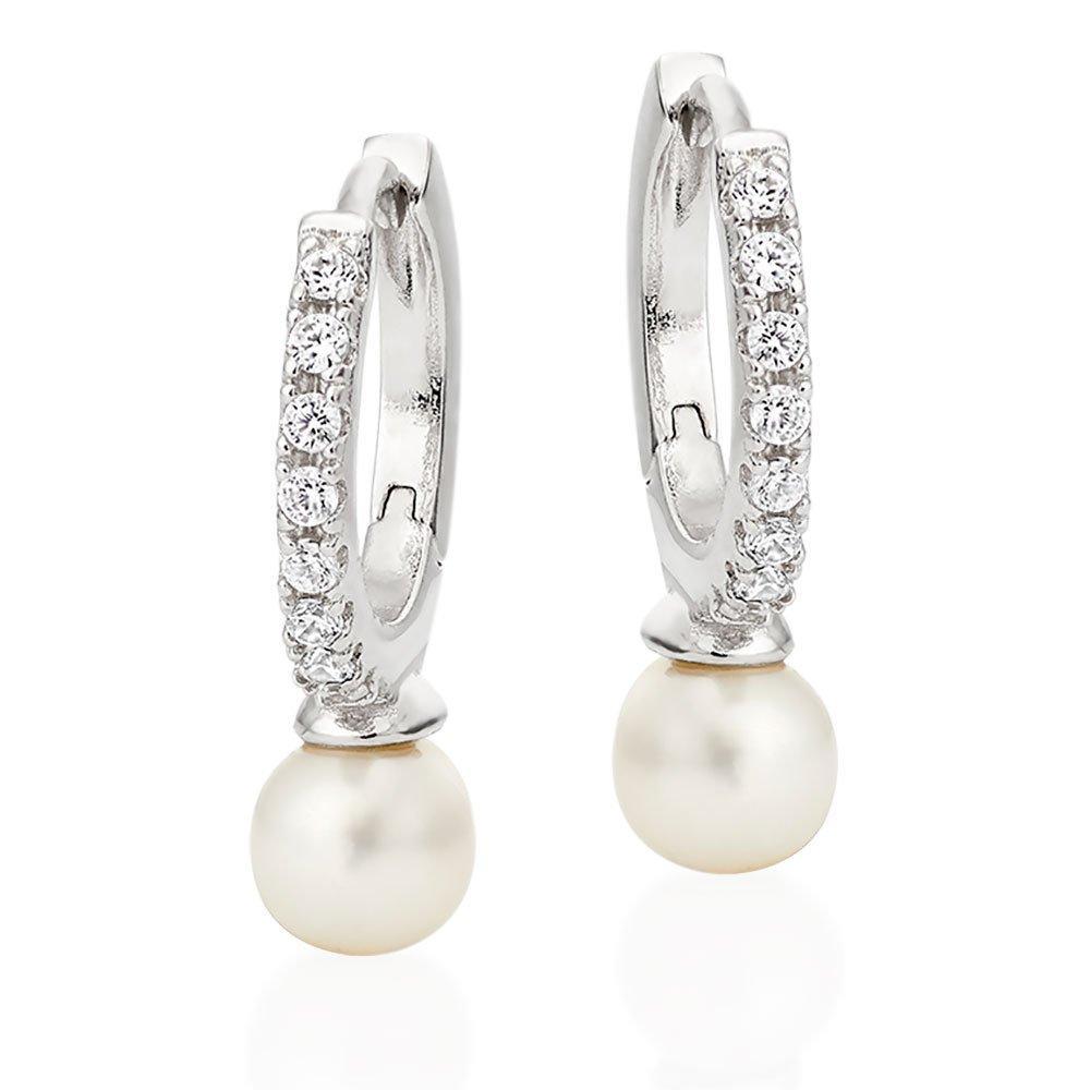 Silver Cubic Zirconia Freshwater Cultured Pearl Hoop Earrings