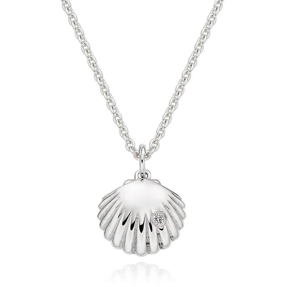 Silver Cubic Zirconia Shell Pendant