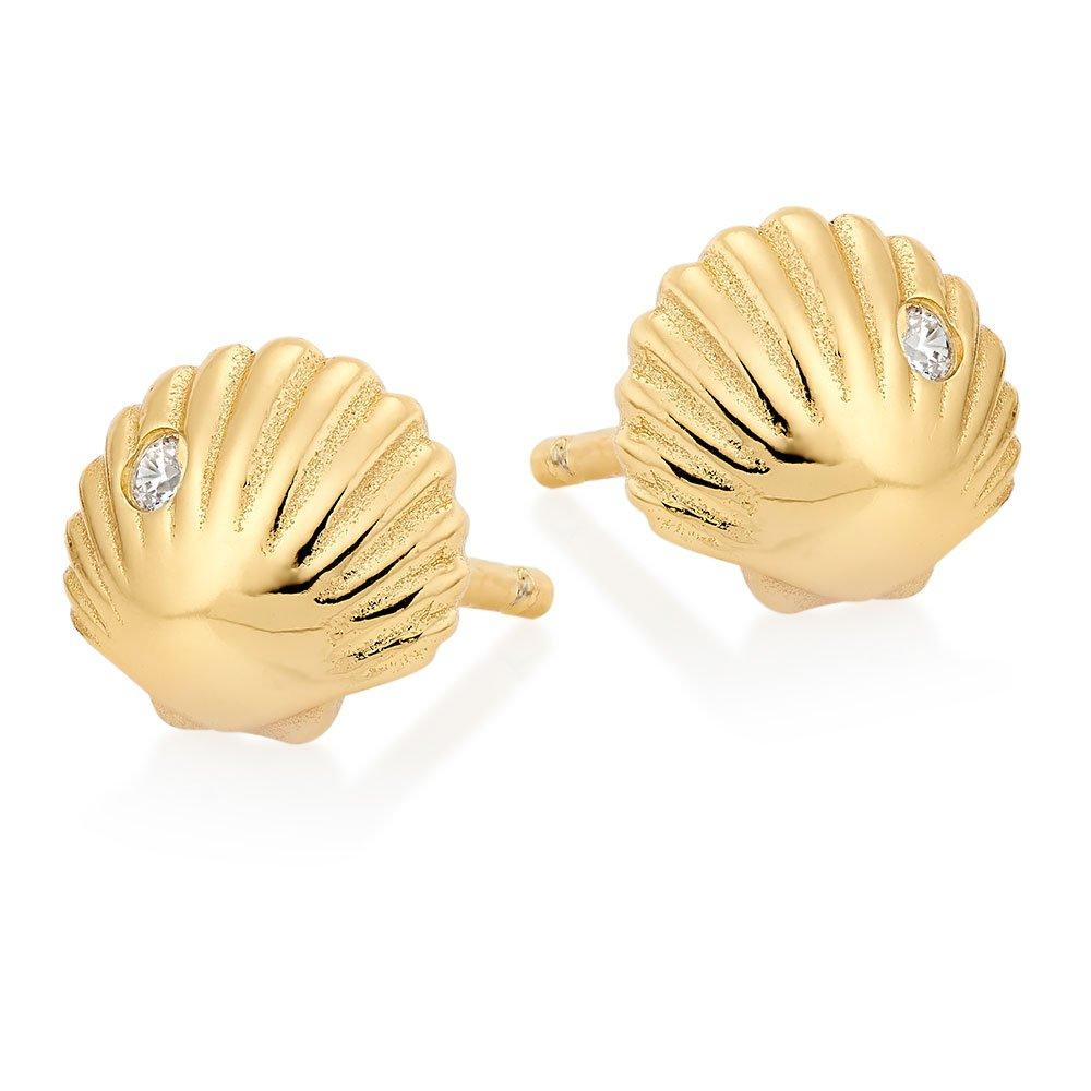Silver Yellow Gold Plated Cubic Zirconia Shell Stud Earrings