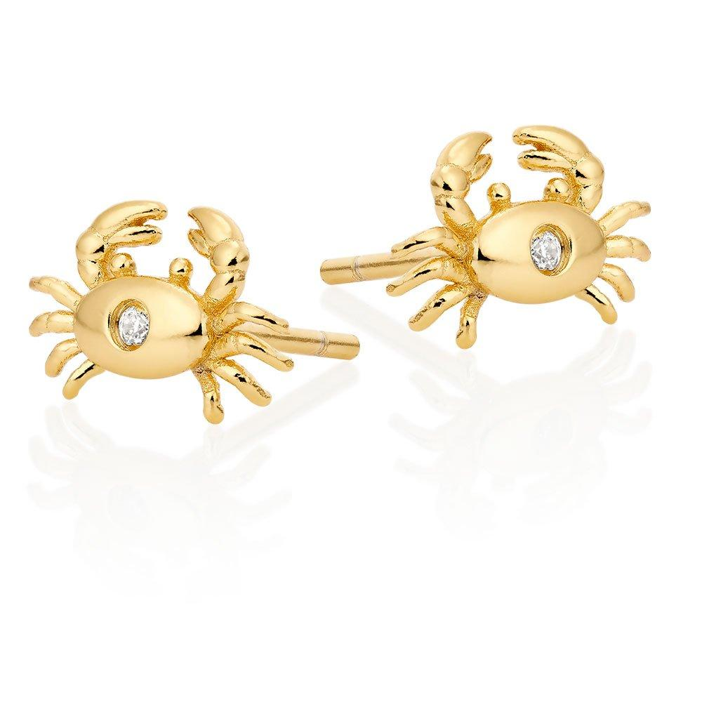 Silver Yellow Gold Plated Cubic Zirconia Crab Earrings