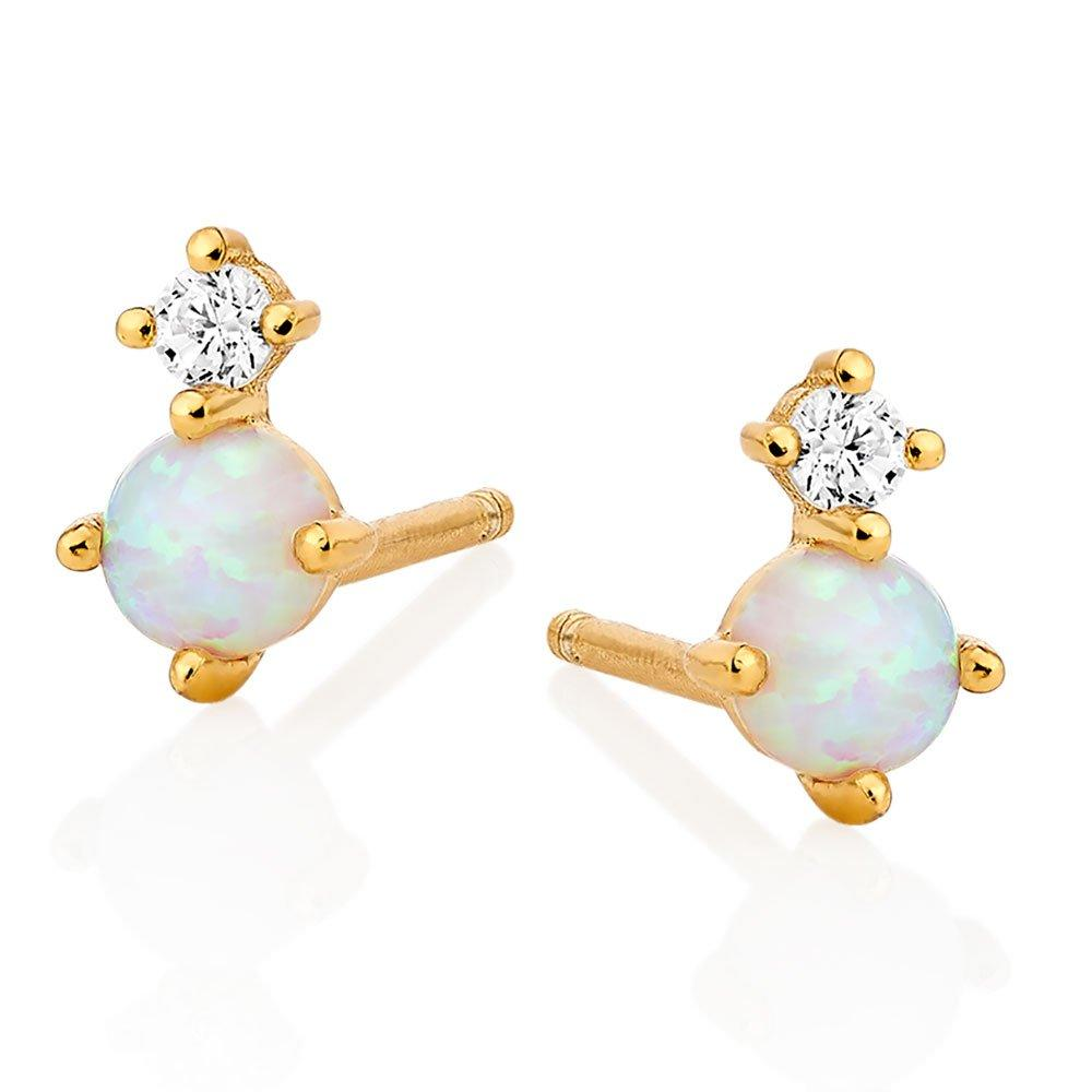 Silver Yellow Gold Plated Cubic Zirconia Opal Earrings
