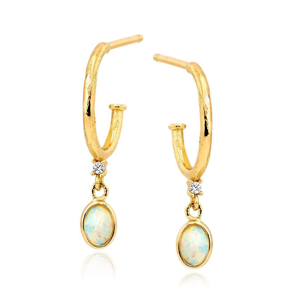 Silver Yellow Gold Plated Cubic Zirconia Opal Drop Earrings