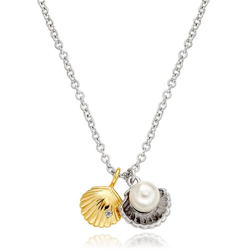 Silver and Gold Plated Cubic Zirconia Freshwater Cultured Pearl Oyster Necklace