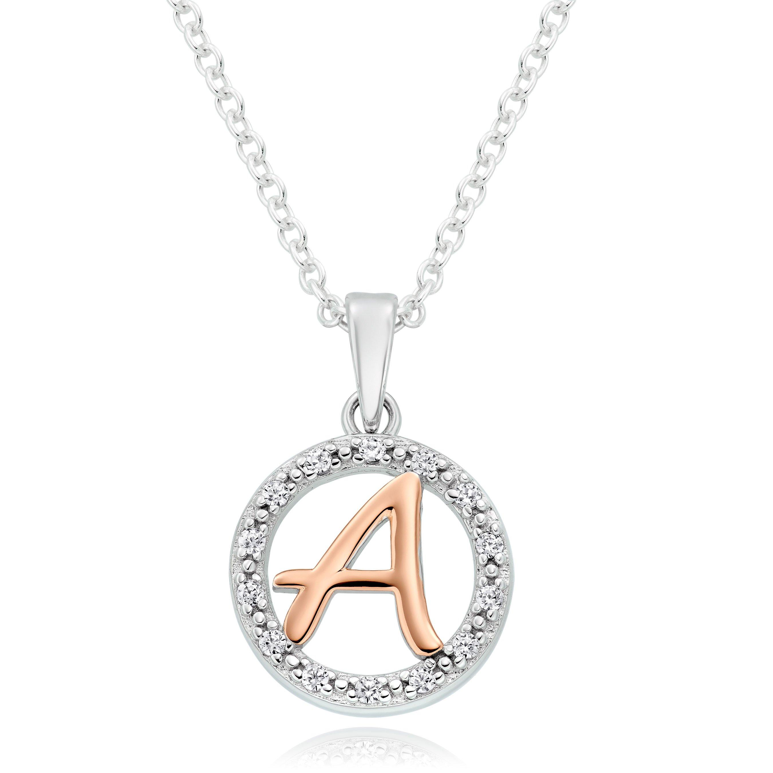 Silver Rose Gold Plated Cubic Zirconia Letter A Pendant
