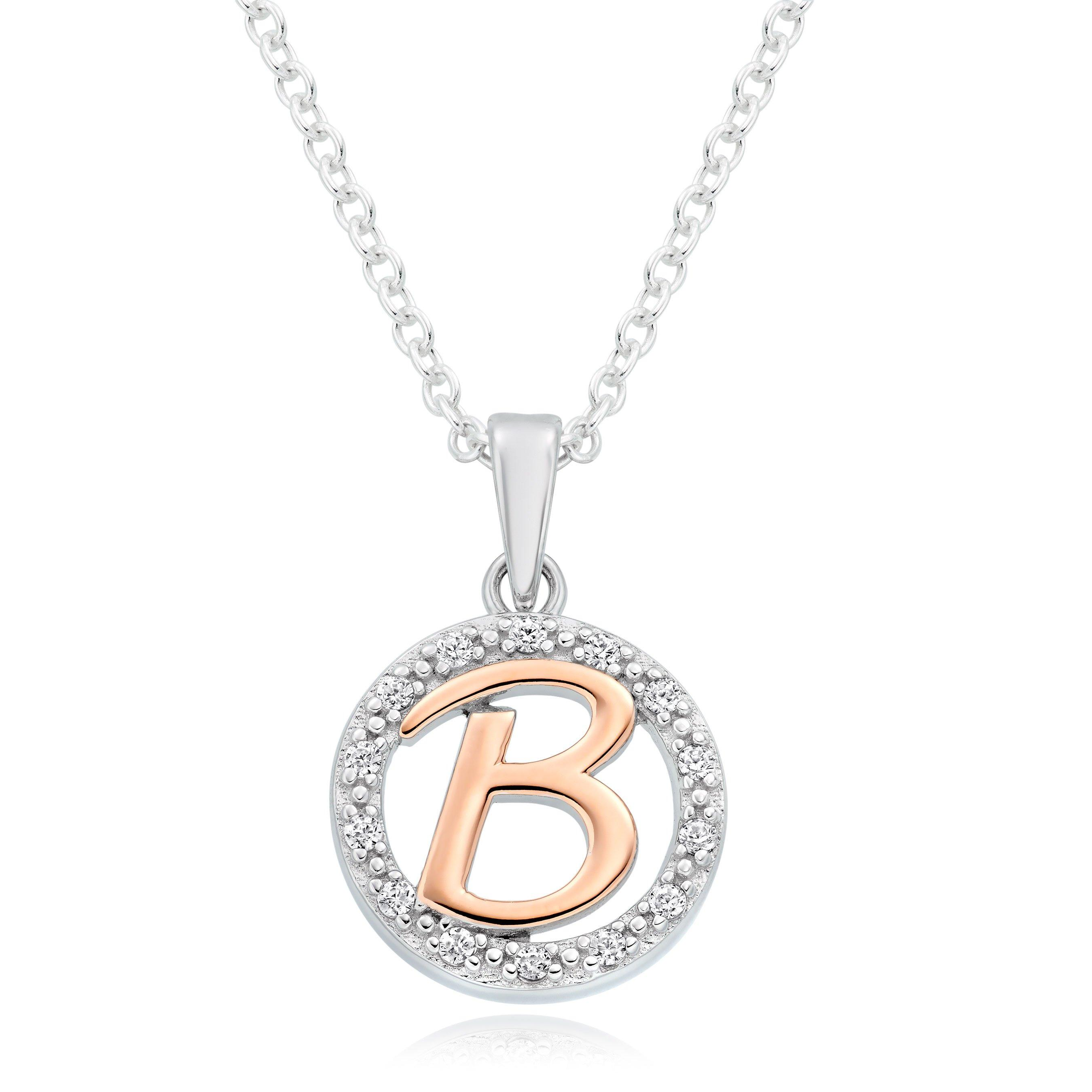 Silver Rose Gold Plated Cubic Zirconia Letter B Pendant
