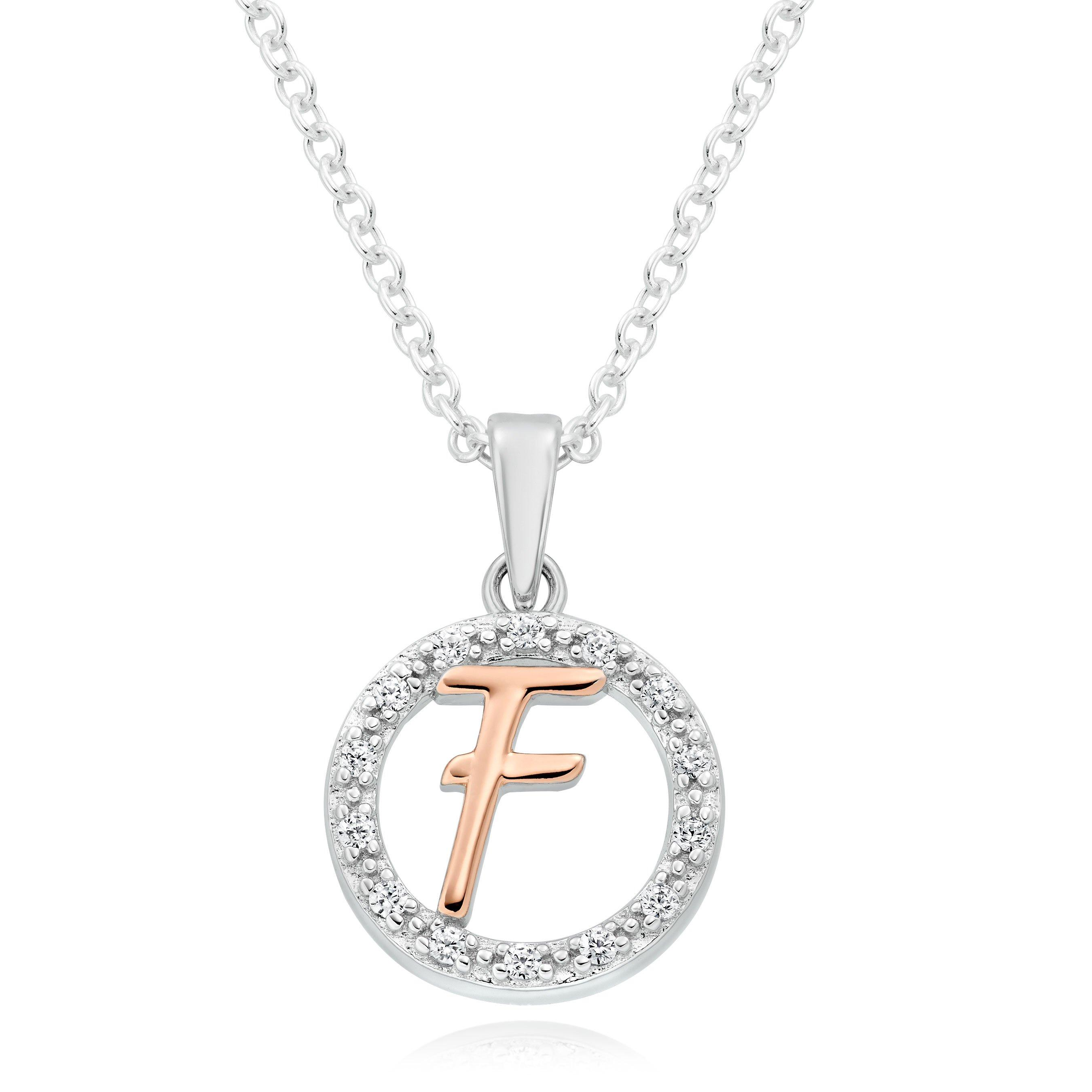 Silver Rose Gold Plated Cubic Zirconia Letter F Pendant