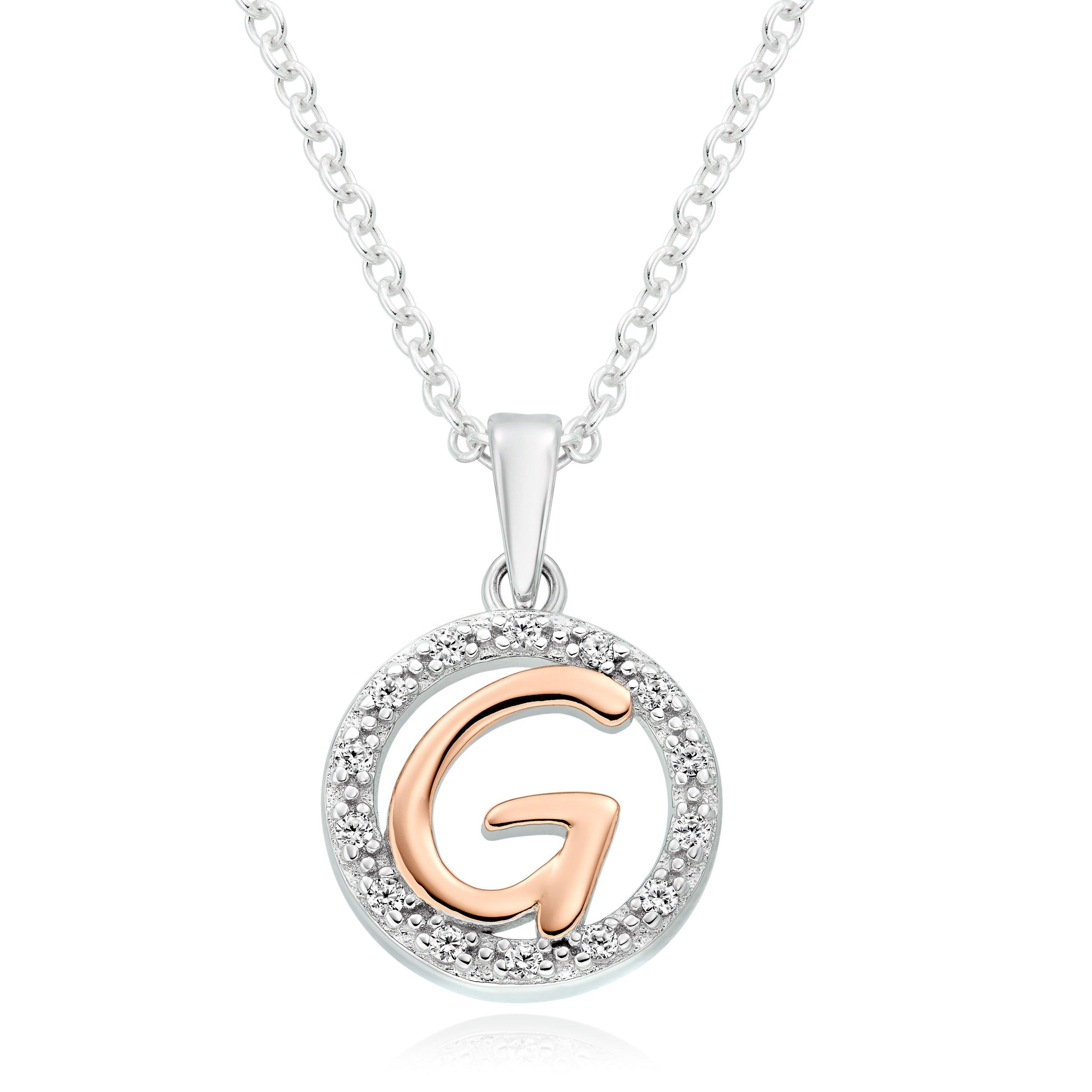Silver Rose Gold Plated Cubic Zirconia Letter G Pendant