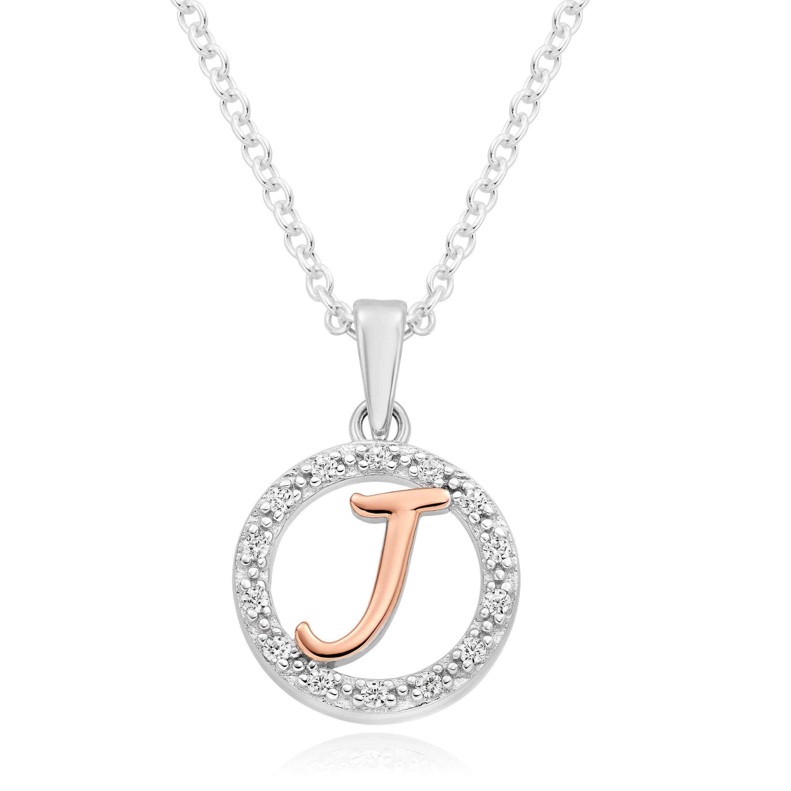 Silver Rose Gold Plated Cubic Zirconia Letter J Pendant