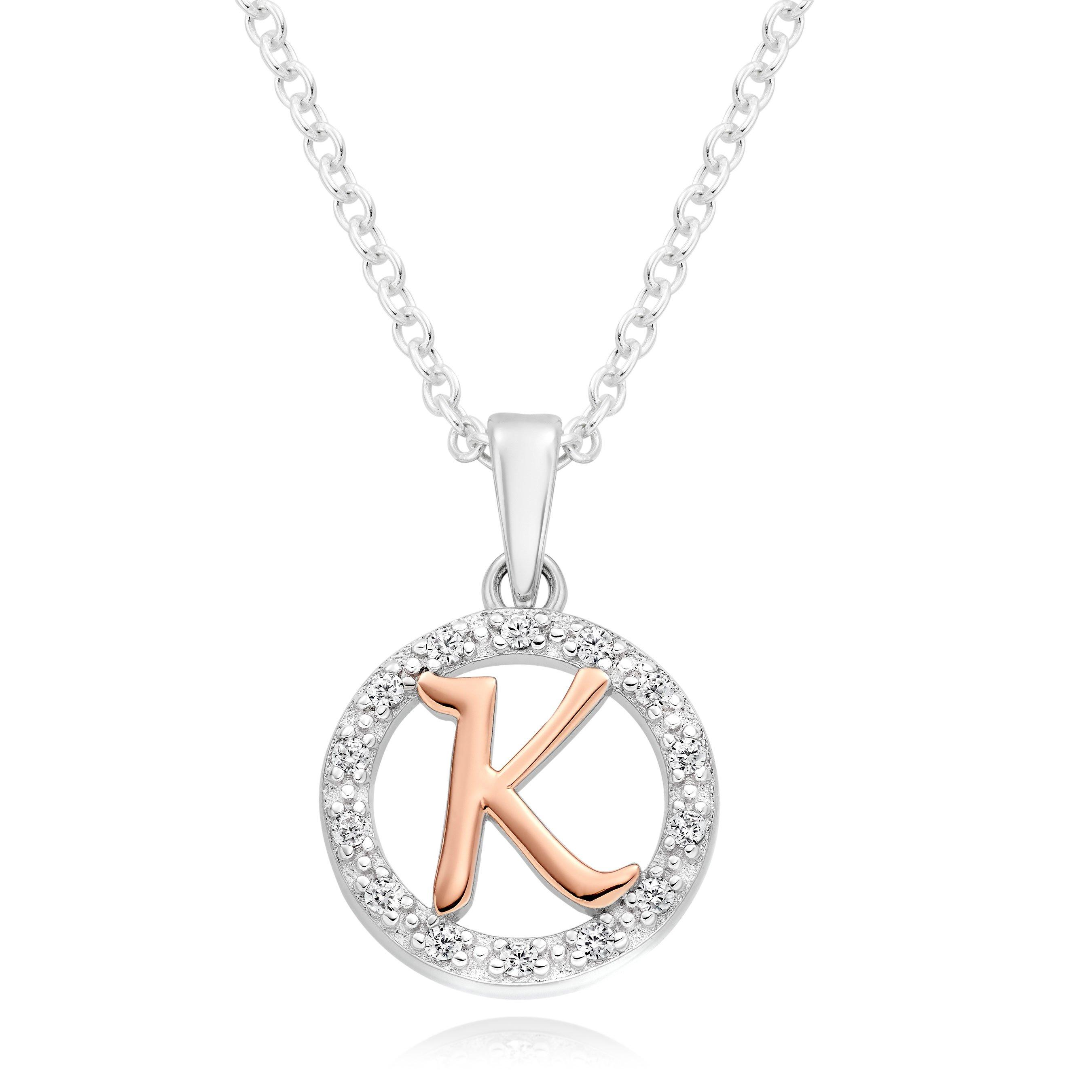 Silver Rose Gold Plated Cubic Zirconia Letter K Pendant