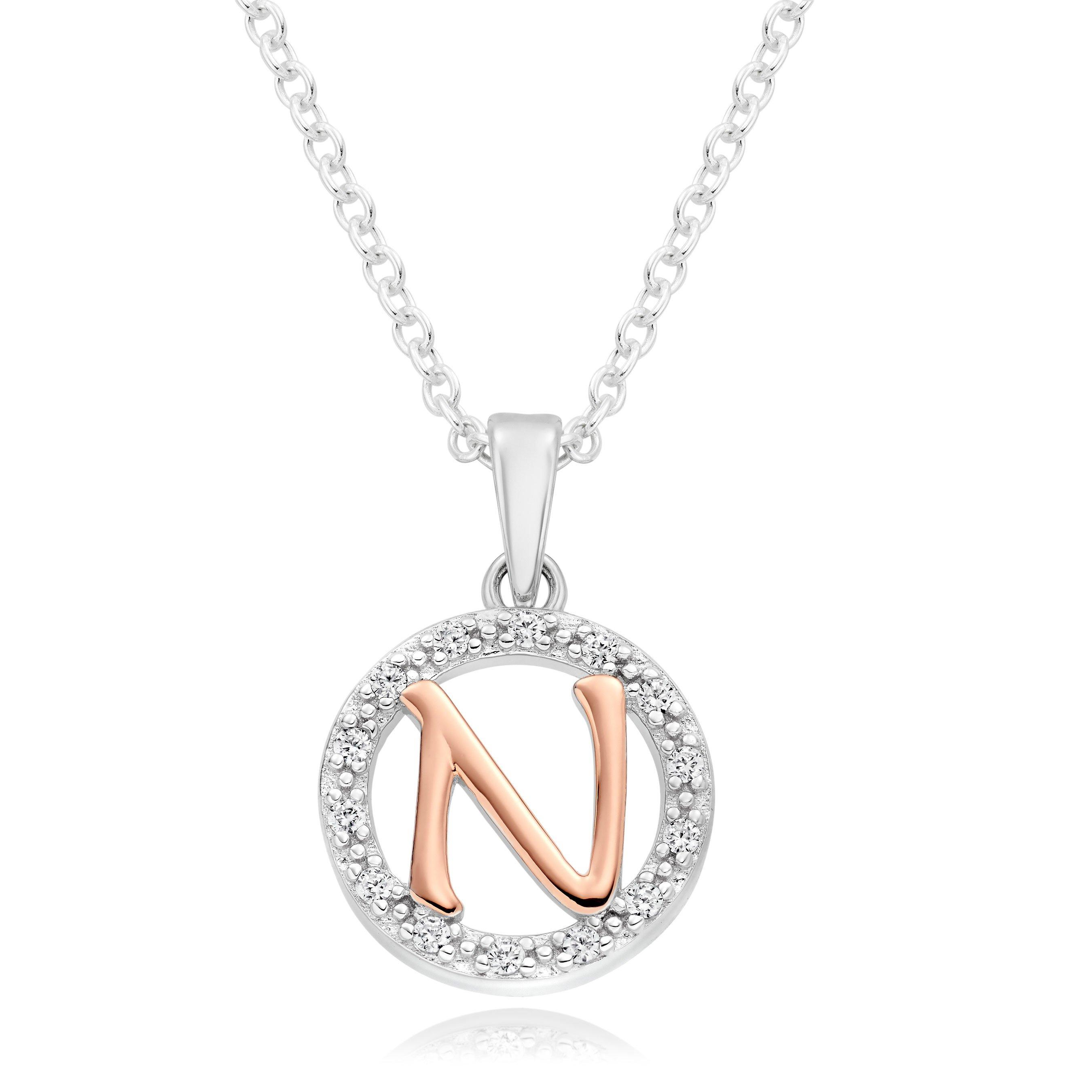 Silver Rose Gold Plated Cubic Zirconia Letter N Pendant