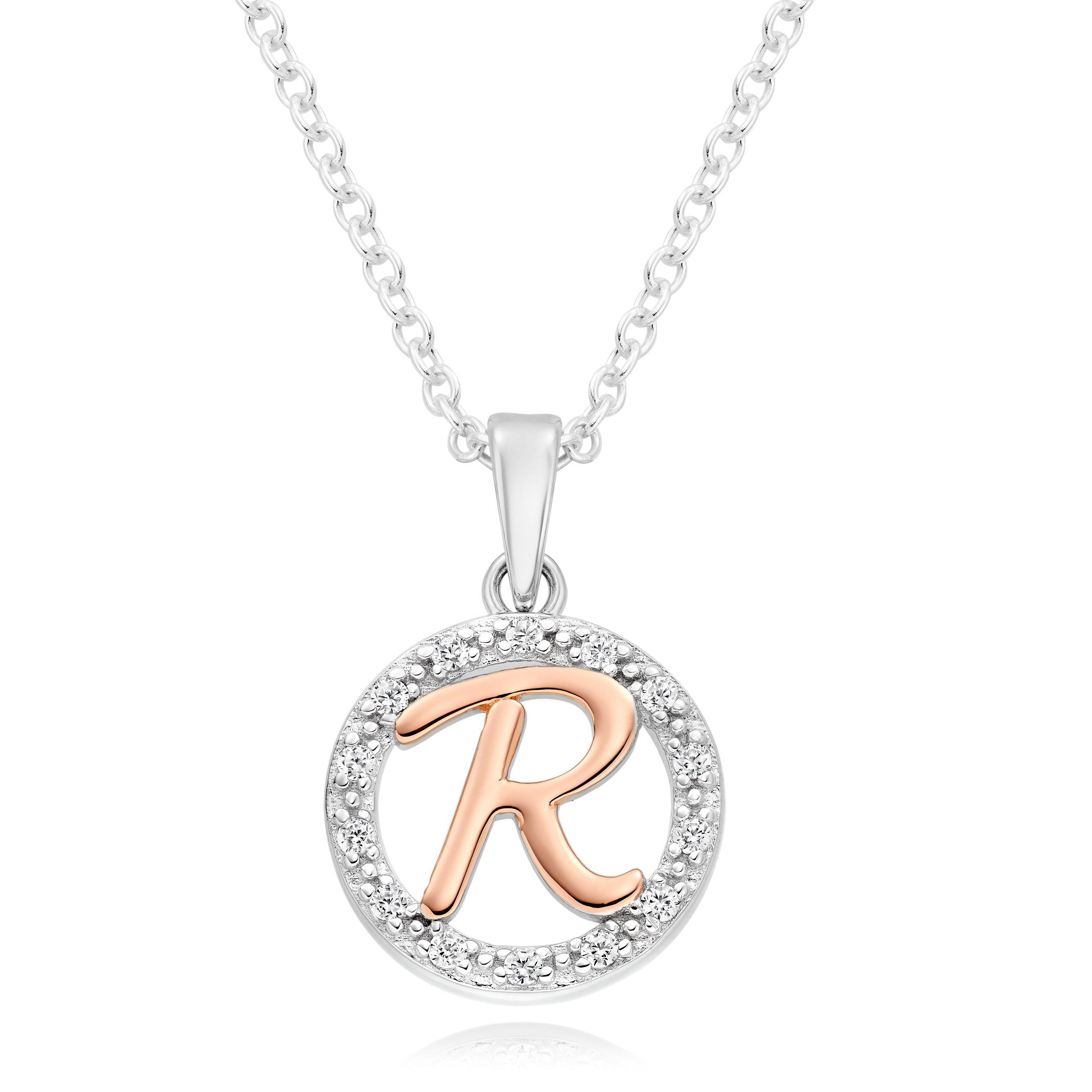 Silver Rose Gold Plated Cubic Zirconia Letter R Pendant