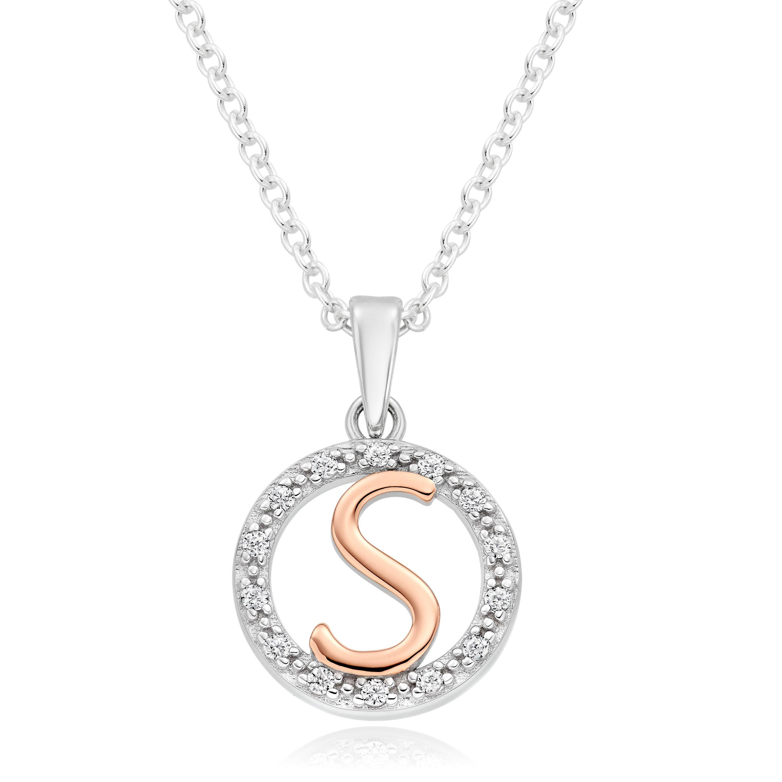 Silver Rose Gold Plated Cubic Zirconia Letter S Pendant