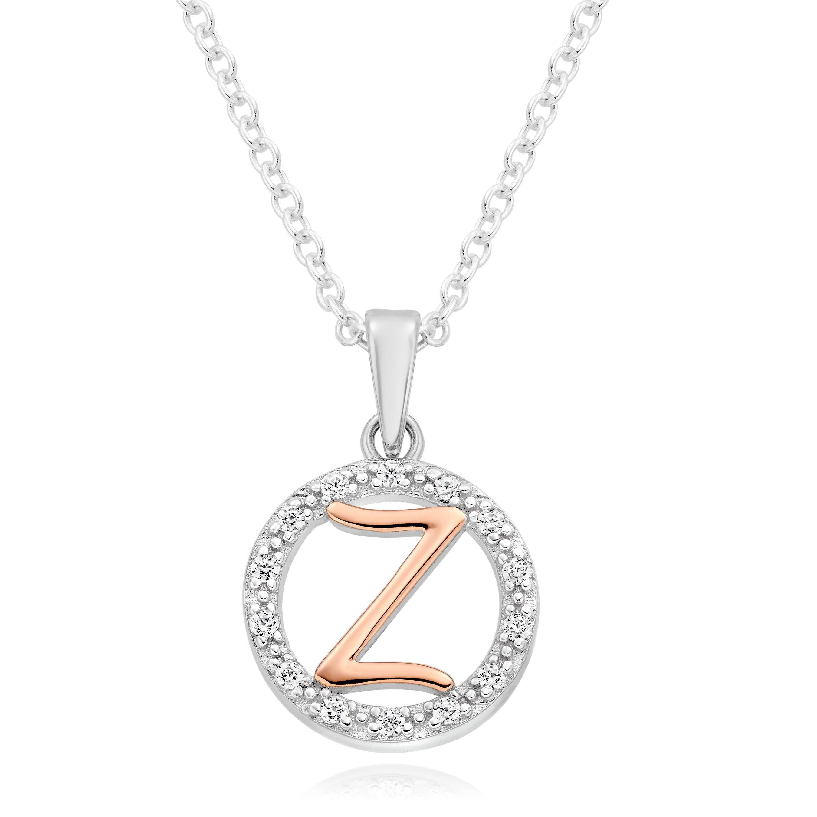 Silver Rose Gold Plated Cubic Zirconia Letter Z Pendant