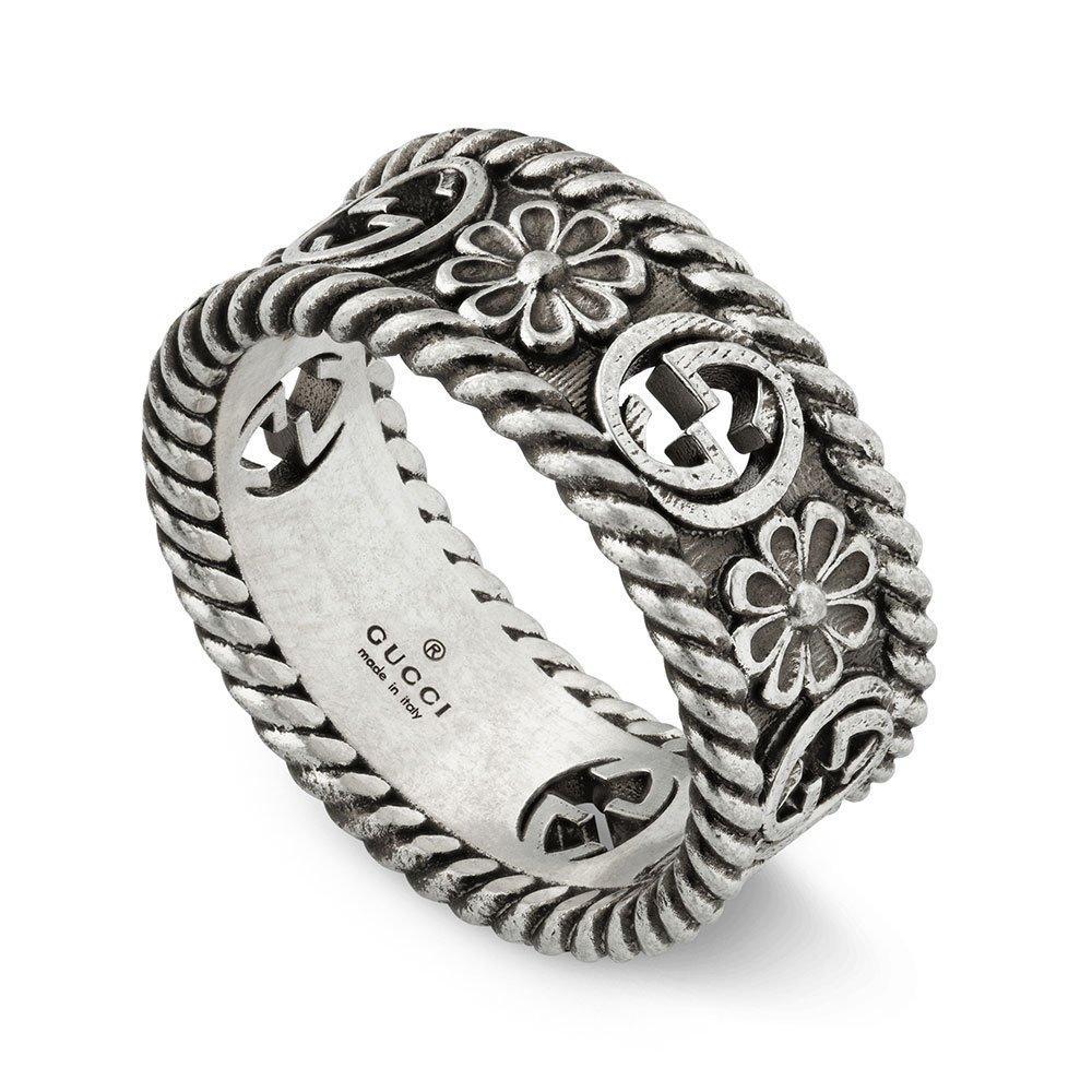Gucci Interlocking G Flower Silver Ring