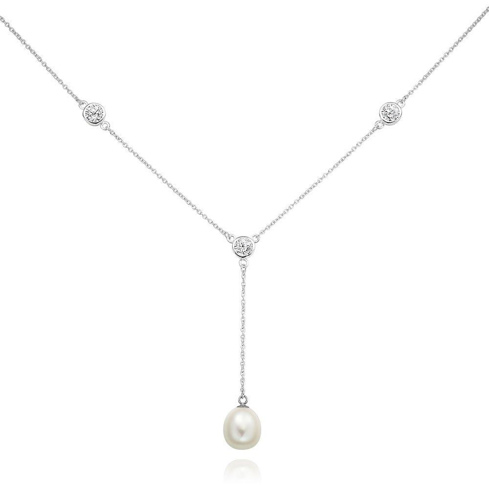 Silver Cubic Zirconia Freshwater Cultured Pearl Drop Necklace