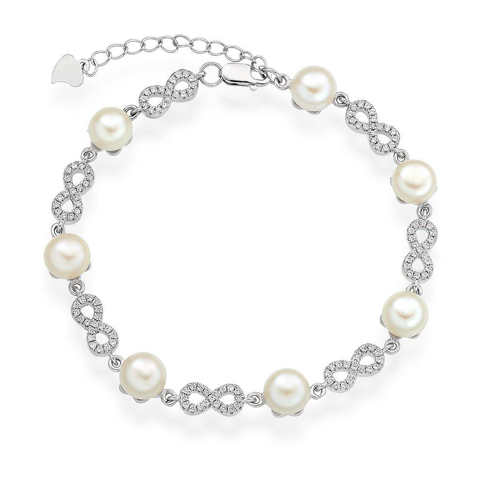 Silver Cubic Zirconia Freshwater Cultured Pearl Infinity Bracelet