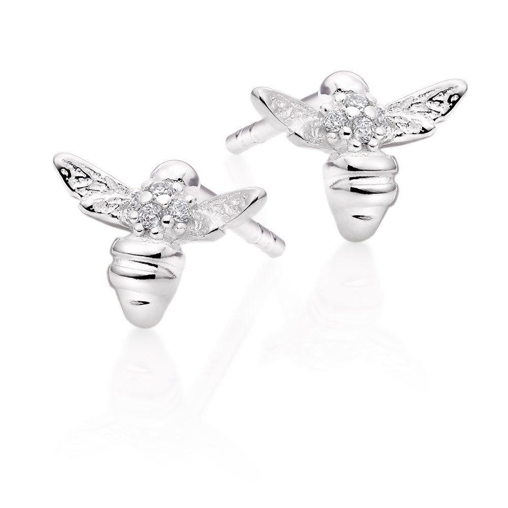 Mini B Silver Cubic Zirconia Bee Earrings