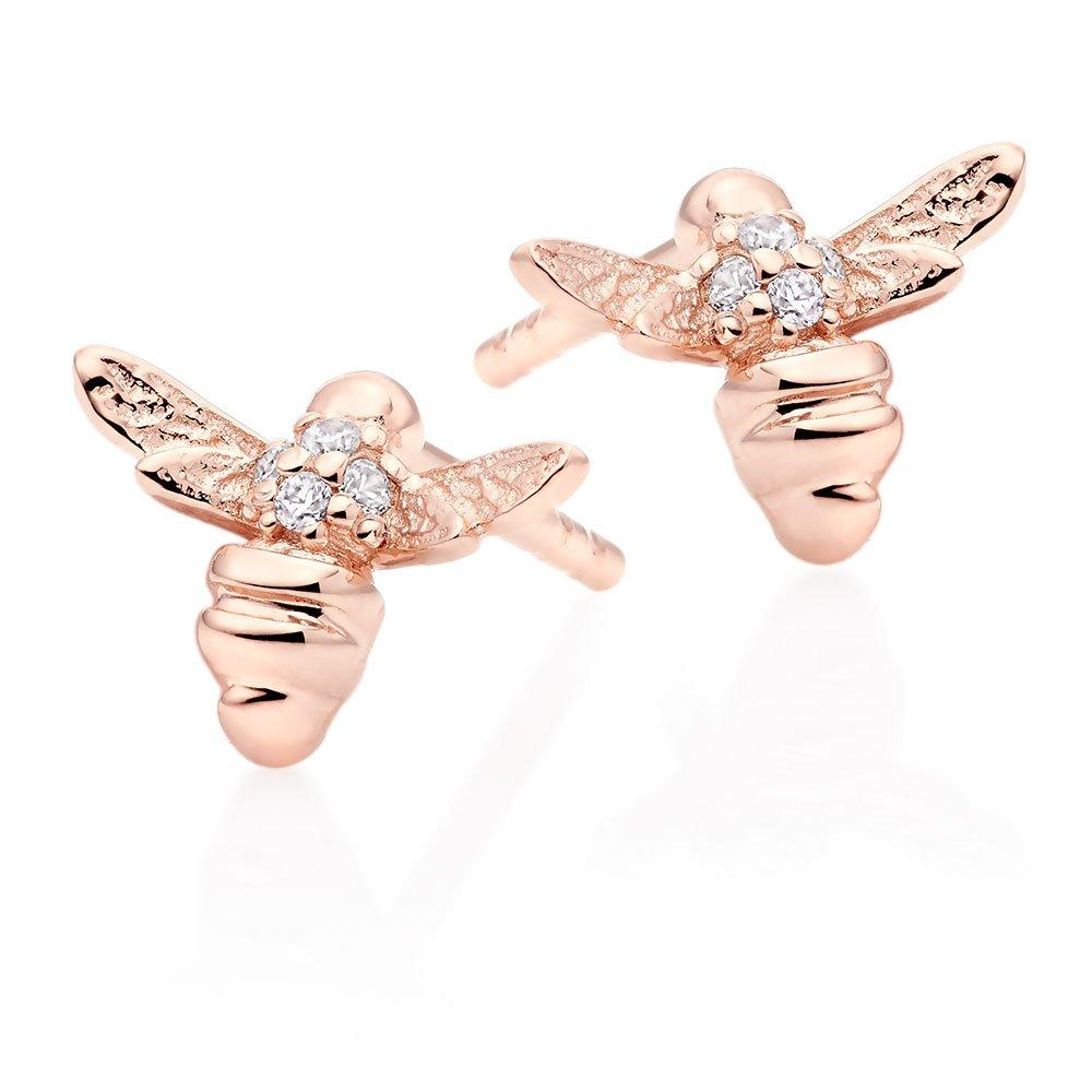 Mini B Rose Gold Plated Silver Cubic Zirconia Bee Earrings