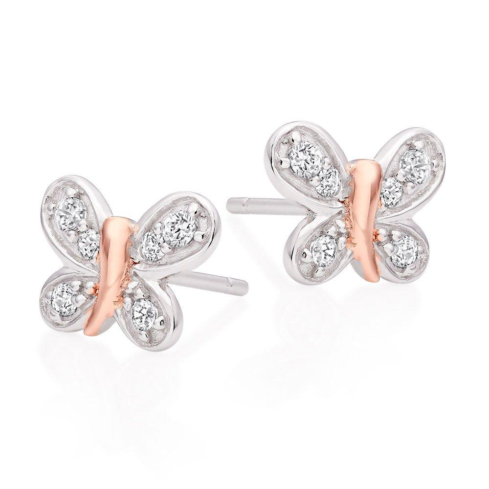Mini B Silver and Rose Gold Plated Cubic Zirconia Butterfly Earrings