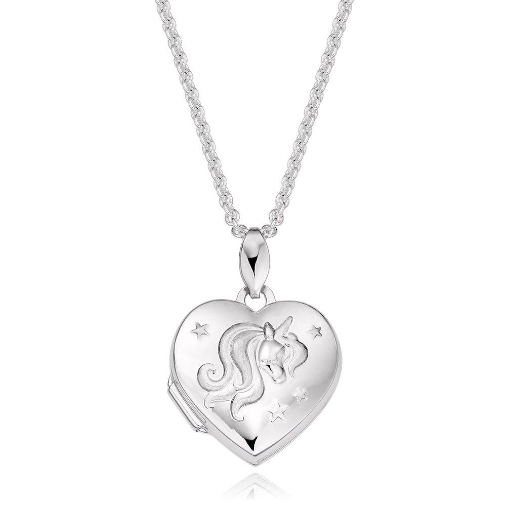Mini B Silver Unicorn Heart Locket