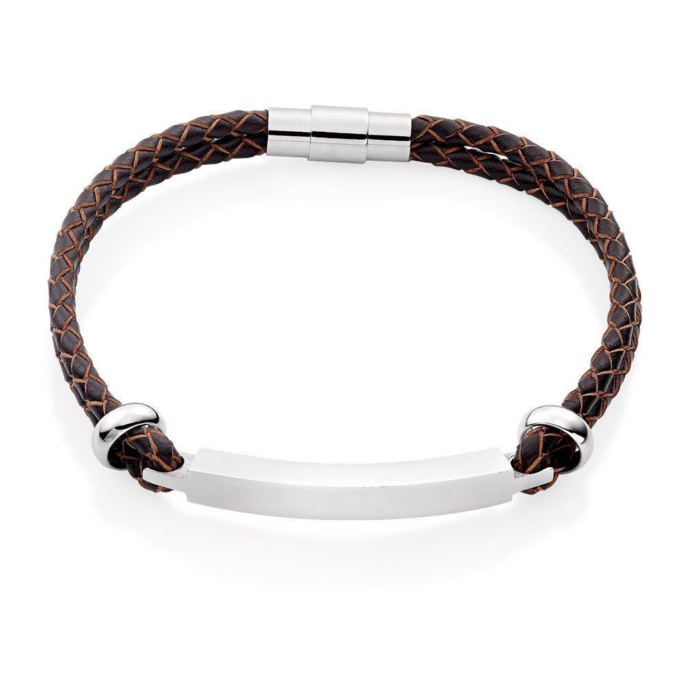 Brown Leather Bar Men's Bracelet