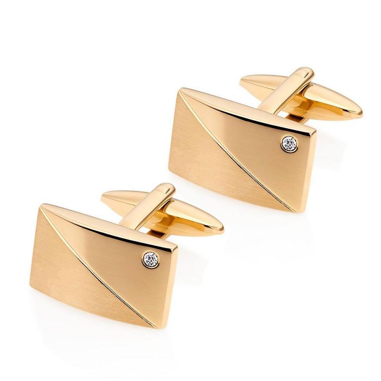 Silver 18ct Gold Plated Crystal Men's Cufflinks