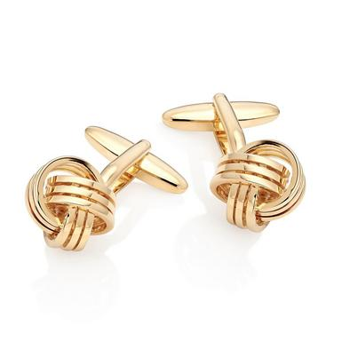 Gold Tone Knot Men's Cufflinks