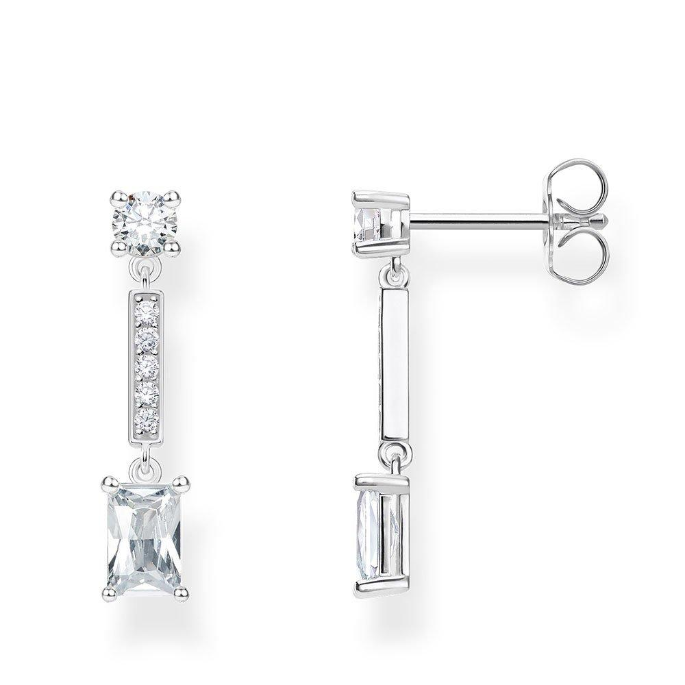 Thomas Sabo Silver Cubic Zirconia Angular Stones Drop Earrings