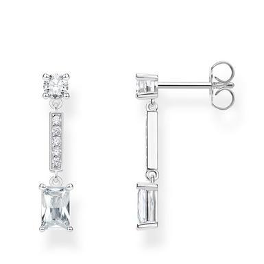 Thomas Sabo Silver Cubic Zirconia Angular Stones Drop Earrings